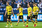 15.04.2018, VELTINS Arena, Gelsenkirchen, Deutschland, GER, 1. FBL, FC Schalke 04 vs. Borussia Dortmund, im Bild Andre Sch&uuml;rrle / Schuerrle (#21 Dortmund), Mahmoud Dahoud (#19 Dortmund), Mario G&ouml;tze / Goetze (#10 Dortmund), Marco Reus (#11 Dortmund) entt&auml;uscht / enttaeuscht / traurig nach Niederlage<br /> <br /> Foto &copy; nordphoto / Kurth