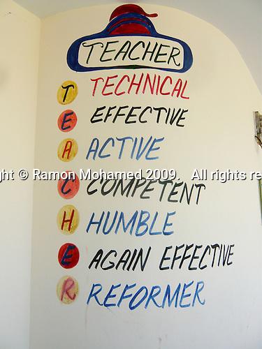 Sign on the wall, Matayal Girls School, Kotli area, Azad Kashmir, Pakistan.  Built with donations from the UK Kashmiri community.