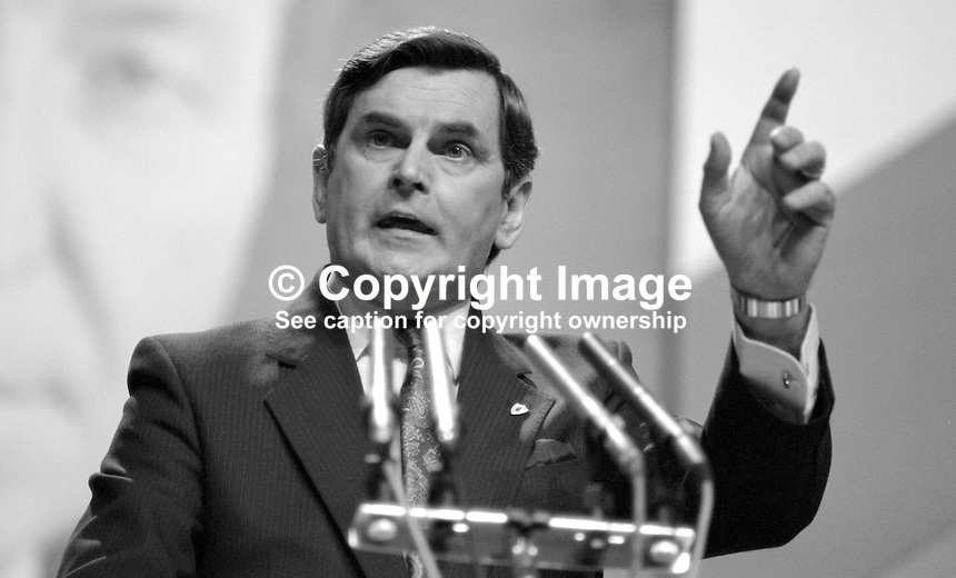 Ray McSharry, TD, Fianna Fail, Minister for Finance, Rep of Ireland, speaking, Ard Fheis, 19880203RMS1..Copyright Image from Victor Patterson, 54 Dorchester Park, Belfast, UK, BT9 6RJ..Tel: +44 28 9066 1296.Mob: +44 7802 353836.Voicemail +44 20 8816 7153.Skype: victorpattersonbelfast.Email: victorpatterson@me.com.Email: victorpatterson@ireland.com (back-up)..IMPORTANT: If you wish to use this image or any other of my images please go to www.victorpatterson.com and click on the Terms & Conditions. Then contact me by email or phone with the reference number(s) of the image(s) concerned.
