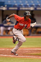 Boston Red Sox outfielder Yoan Aybar (32) during an Instructional League game against the Tampa Bay Rays on September 25, 2014 at Tropicana Field in St. Petersburg, Florida.  (Mike Janes/Four Seam Images)