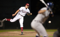 STANFORD, CA - March 29, 2011: Elliott Byers of Stanford baseball pitches during Stanford's game against St. Mary's at Sunken Diamond. Stanford won 16-14.