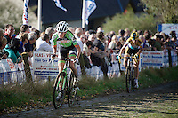 Sophie de Boer (NLD) up the Koppenberg cobbles, on her way to win the race<br /> <br /> Koppenbergcross 2014