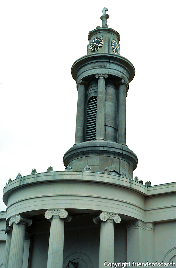 Sir John Soane: All Saints, Camden Town, London. Detail of tower. Photo  '90.