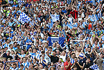 Huddersfield's fans celebrate their promotion during the Championship Play-Off Final match at Wembley Stadium, London. Picture date: May 29th, 2017. Pic credit should read: David Klein/Sportimage