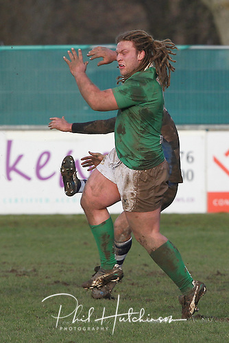 1.2.2014, Coventry, England.  Adam Howard (Wharfedale) in action during the Division One fixture between Coventry and Wharfedale RFC from the Butts Park Arena.