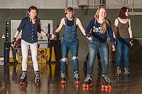 A Roller Disco session takes place at the Wellbeing Rooms at the Sugden Centre at the University of Manchester as part of the 'Wellbeing Wednesday' day of activities.