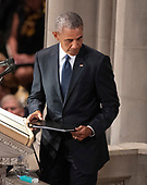 Former United States President Barack Obama completes his remarks at the funeral service for the late US Senator John S. McCain, III (Republican of Arizona) at the Washington National Cathedral in Washington, DC on Saturday, September 1, 2018.<br /> Credit: Ron Sachs / CNP<br /> <br /> (RESTRICTION: NO New York or New Jersey Newspapers or newspapers within a 75 mile radius of New York City)