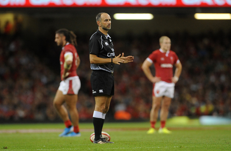 Referee Romain Poite during the game<br /> <br /> Photographer Ian Cook/CameraSport<br /> <br /> 2019 Under Armour Summer Series - Wales v Ireland - Saturday 31st August 2019 - Principality Stadium - Cardifff<br /> <br /> World Copyright © 2019 CameraSport. All rights reserved. 43 Linden Ave. Countesthorpe. Leicester. England. LE8 5PG - Tel: +44 (0) 116 277 4147 - admin@camerasport.com - www.camerasport.com