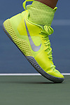 Victoria Azarenka's shoes contrast with the court at the US Open in Flushing, NY on September 3, 2015.