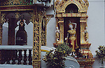 """WATER GODDESS AT DOI SUTHEP TEMPLE IN Wat Phra That Doi Suthep (Thai: วัดพระธาตุดอยสุเทพ, Thai pronunciation: [wát.pʰráʔ.tʰâat.dɔɔj.sùʔ.tʰêep], Northern Thai pronunciation: [wa̋t.pʰa̋ʔ.tʰâat.dɔɔj.súʔ.têep]) is a Theravada Buddhist temple in Chiang Mai Province, Thailand. The temple is often referred to as """"Doi Suthep"""" although this is actually the name of the mountain it is located on. The temple is located 15 kilometres (9.3 mi) from the city of Chiang Mai and is a sacred site to many Thai people. From the temple, impressive views of Chiang Mai can be seen and it remains a popular destination for tourists.CHIANG MAI"""