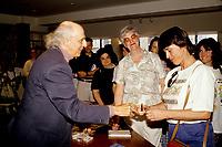 June 1992 File photo - Gilles Vignault sign autographs for fans <br /> Photo : (c)Pierre Roussel