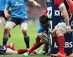 Giovanbattista Venditti of Italy of catches the ball from the rebound off the post and goes over to score - RBS 6Nations 2015 - Scotland  vs Italy - BT Murrayfield Stadium - Edinburgh - Scotland - 28th February 2015 - Picture Simon Bellis/Sportimage