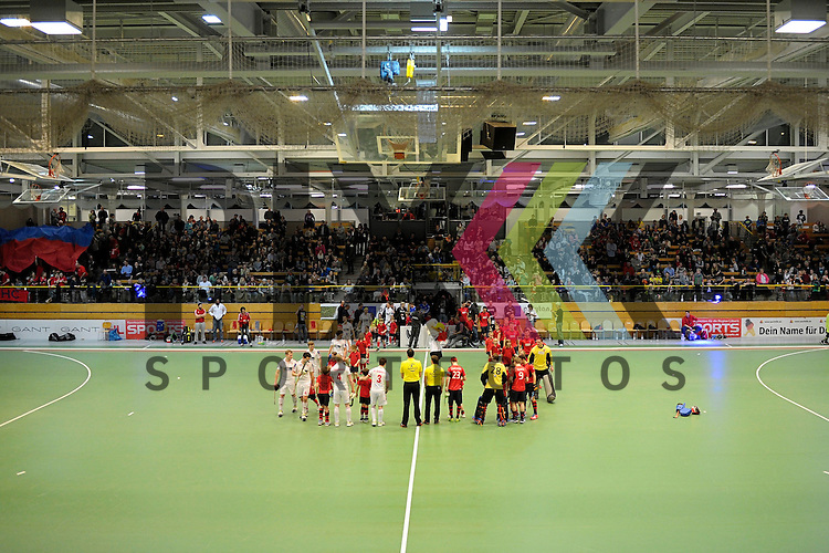 GER - Luebeck, Germany, February 06: Before the 1. Bundesliga Herren indoor hockey semi final match at the Final 4 between Berliner HC (red) and Rot-Weiss Koeln (white) on February 6, 2016 at Hansehalle Luebeck in Luebeck, Germany. Final score 2-3 (HT 6-10). <br /> <br /> Foto &copy; PIX-Sportfotos *** Foto ist honorarpflichtig! *** Auf Anfrage in hoeherer Qualitaet/Aufloesung. Belegexemplar erbeten. Veroeffentlichung ausschliesslich fuer journalistisch-publizistische Zwecke. For editorial use only.