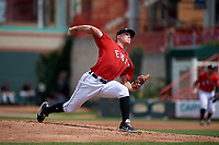 Erie SeaWolves starting pitcher Beau Burrows (33) delivers a pitch during a game against the Akron RubberDucks on August 27, 2017 at UPMC Park in Erie, Pennsylvania.  Akron defeated Erie 6-4.  (Mike Janes/Four Seam Images)