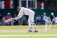 Jamie Porter of Essex is bowled out by Stuart Meaker during Surrey CCC vs Essex CCC, Specsavers County Championship Division 1 Cricket at Guildford CC, The Sports Ground on 11th June 2017