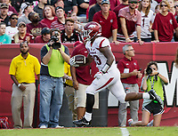 Hawgs Illustrated/BEN GOFF <br /> David Williams, Arkansas running back, scores a touchdown, which was called back on a rulling of out of bounds, in the first half against South Carolina Saturday, Oct. 7, 2017, at Williams-Brice Stadium in Columbia, S.C.
