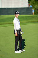 Sung Hyun Park (KOR) looks with a grin as she looks at her chip shot on 18 during Sunday's final round of the 72nd U.S. Women's Open Championship, at Trump National Golf Club, Bedminster, New Jersey. 7/16/2017.<br /> Picture: Golffile| Ken Murray<br /> <br /> <br /> All photo usage must carry mandatory copyright credit (&copy; Golffile | Ken Murray)