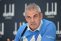 Ryder Cup Captain Paul McGinley planning was through; from 5 years back he kept notes to assist him know how to plan and defeat the USA; using his experience of captaincy in the Seve Trophy for instance as well as learning from the advice of Bob Torrence and Jasper Parnevik, during the Media Interview before the 2014 Alfred Dunhill Links Championship, The Old Course, St Andrews, Fife, Scotland. Picture:  David Lloyd / www.golffile.ie