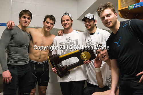 Steven McParland (PC - 15), Tom Parisi (PC - 6), Brooks Behling (PC - 17), Nick Saracino (PC - 18), Mark Jankowski (PC - 10), Trevor Mingoia (PC - 9) - The Providence College Friars celebrated their national championship win after the Frozen Four final at TD Garden on Saturday, April 11, 2015, in Boston, Massachusetts.