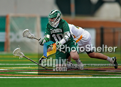 24 April 2012: Dartmouth College Big Green midfielder Anthony Fulham, a Junior from Newton, MA, in action against the University of Vermont Catamounts at Virtue Field in Burlington, Vermont. The Big Green defeated the Catamounts 10-5 in Men's Varsity Lacrosse action. Mandatory Credit: Ed Wolfstein Photo