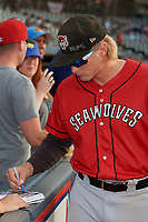 Erie SeaWolves Cam Gibson (14) signs autographs before an Eastern League game against the Akron RubberDucks on August 30, 2019 at Canal Park in Akron, Ohio.  Erie defeated Akron 3-2.  (Mike Janes/Four Seam Images)