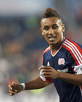 New England Revolution forward Juan Agudelo (10) celebrates goal. In a Major League Soccer (MLS) match, the New England Revolution (dark blue) defeated Philadelphia Union (light blue), 5-1, at Gillette Stadium on August 25, 2013.