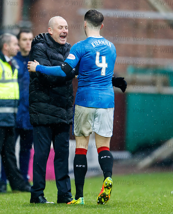 Mark Warburton and Rob Kiernan at full-time