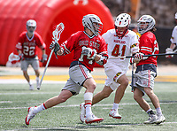 College Park, MD - April 22, 2018: Ohio State Buckeyes Tre Leclaire (14) holds off Maryland Terrapins Bryce Young (41) during game between Ohio St. and Maryland at  Capital One Field at Maryland Stadium in College Park, MD.  (Photo by Elliott Brown/Media Images International)