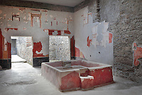 Atrium, with large central impluvium or water tank, adapted for use as a washing tub for delicate fabrics, in the Fullonica di Stefanus, or Fullonica of Stephanus, a laundry in Pompeii, Italy. The atrium is decorated with frescoes in the Fourth Style of Roman wall painting, 60-79 AD, with red panels framed with decorative borders above a lower black frieze. Pompeii is a Roman town which was destroyed and buried under 4-6 m of volcanic ash in the eruption of Mount Vesuvius in 79 AD. Buildings and artefacts were preserved in the ash and have been excavated and restored. Pompeii is listed as a UNESCO World Heritage Site. Picture by Manuel Cohen