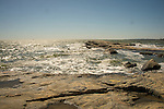 Madison beach pocky peninsula on windy spring day.