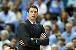 16 November 2014: Robert Morris head coach Andrew Toole. The University of North Carolina Tar Heels played the Robert Morris University Colonials in an NCAA Division I Men's basketball game at the Dean E. Smith Center in Chapel Hill, North Carolina. UNC won the game 103-59.