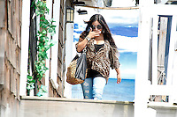 Snooki pictured on the top of the steps of the shore house during filming of The Jersey Shore Show season six in Seaside Heights, New Jersey on July 5, 2012  © Star Shooter / MediaPunchInc *NORTEPHOTO.COM*<br />