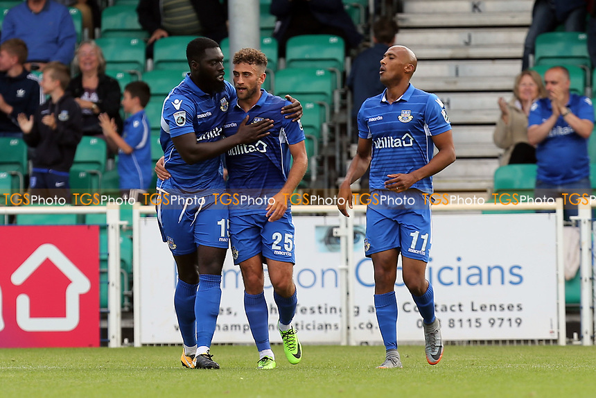 Ben Williamson of Eastleigh celebrates scoring the opening Eastleigh goal during Eastleigh vs Dagenham & Redbridge, Vanarama National League Football at the Silverlake Stadium on 12th August 2017
