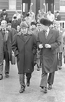 President Gerald R. Ford and Soviet General Secretary Leonid I. Brezhnev departing from the train upon their arrival at the Okeansky Sanitarium, Vladivostok, U.S.S.R.  23 November 1974