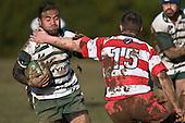 Noam Dubart goes high as he tries to stop Filipo Tautu. Counties Manukau Premier rugby game between Karaka & Manurewa played at the Karaka Domain on July 5th 2008..Karaka won 22 - 12.
