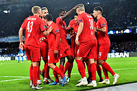 Erling Braut Haland of FC Salzburg (R) celebrates with team mates after scoring on penalty the goal of 0-1 for his side<br /> Napoli 05-11-2019 Stadio San Paolo <br /> Football Champions League 2019/2020 Group E<br /> SSC Napoli - FC Salzburg<br /> Photo Antonietta Baldassarre / Insidefoto