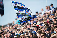 A Bath Rugby supporter in the crowd waves a flag in celebration. Aviva Premiership match, between Bath Rugby and Newcastle Falcons on September 23, 2017 at the Recreation Ground in Bath, England. Photo by: Patrick Khachfe / Onside Images