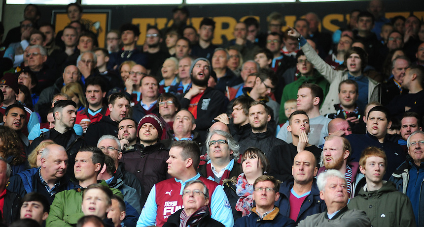 Burnley fans during the second half<br /> <br /> Photographer: Chris Vaughan/CameraSport<br /> <br /> Football - Barclays Premiership - Hull City v Burnley - Saturday 9th May 2015 - Kingston Communications Stadium - Hull<br /> <br /> &copy; CameraSport - 43 Linden Ave. Countesthorpe. Leicester. England. LE8 5PG - Tel: +44 (0) 116 277 4147 - admin@camerasport.com - www.camerasport.com