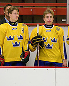 Johan Sundström (Sweden - 13), Adam Pettersson (Sweden - 18) - Sweden's Under-20 team defeated the Harvard University Crimson 2-1 on Monday, November 1, 2010, at Bright Hockey Center in Cambridge, Massachusetts.