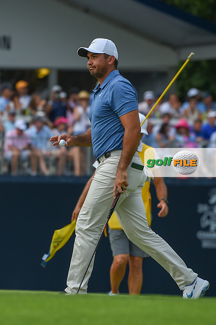Jason Day (AUS) after sinking his putt on 9 during 4th round of the 100th PGA Championship at Bellerive Country Club, St. Louis, Missouri. 8/12/2018.<br /> Picture: Golffile | Ken Murray<br /> <br /> All photo usage must carry mandatory copyright credit (© Golffile | Ken Murray)
