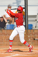 Michael Swinson #10 of the Johnson City Cardinals follows through on his swing versus the Burlington Royals at Howard Johnson Stadium June 27, 2009 in Johnson City, Tennessee. (Photo by Brian Westerholt / Four Seam Images)