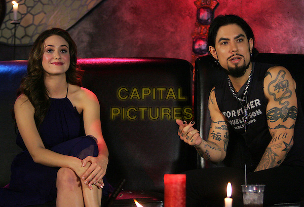 "EMMY ROSSUM & DAVE NAVARRO.At Dave Navarro's live weekly internet show ,"" Spread Entertainment "" on Maniatv.com held at The Dragonfly in Hollywood, California, USA..August 2nd, 2007                                                       .half 3/4 length black sleeveless top tattoos goatee facial hair blue dress sitting.CAP/DVS.©Debbie VanStory/Maniatv.com/Capital Pictures"