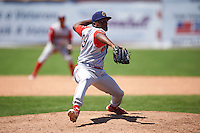 Williamsport Crosscutters pitcher Juan Figueroa (29) delivers a pitch during a game against the Batavia Muckdogs on July 16, 2015 at Dwyer Stadium in Batavia, New York.  Batavia defeated Williamsport 4-2.  (Mike Janes/Four Seam Images)