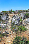 Misrah Ghar il-Kbir, Clapham Junction, prehistoric cart ruts tracked over rocky limestone surface, Siġġiewi, Malta