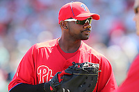 Philadelphia Phillies Ryan Howard #6 during a spring training game against the Baltimore Orioles at Bright House Field in Clearwater, Florida;  March 8, 2011.  Photo By Mike Janes/Four Seam Images