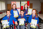Book covers<br /> ----------------<br /> Pupils from Killorglin National School who received their medals and certs last Monday evening in the Tralee Education Centre,North Campus,Tralee IT, after their books were chosen in the Irish book writing competition for primary schools in the county,the Gradam Awards were (front) L-R Arida Mateviciute, Fionn O Corra ages Lara Leasaoi, (back) L-R Laoise Ni Mhurchu ages Alicia De Burca.