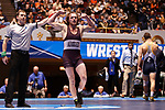 CLEVELAND, OH - MARCH 10: Lucas Jeske, of Augsburg, celebrates hi swin in the 165 weight class during the Division III Men's Wrestling Championship held at the Cleveland Public Auditorium on March 10, 2018 in Cleveland, Ohio. (Photo by Jay LaPrete/NCAA Photos via Getty Images)