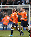 Matthew Barnes-Homer of Luton (l)) celebrates with team-mate Liam Hatch after scoring the winning goal  during the  Blue Square Premier match between Stevenage Borough and Luton Town at the Lamex Stadium, Broadhall Way, Stevenage on Saturday 3rd April, 2010..© Kevin Coleman 2010 .