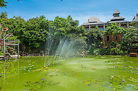 Thailand, Koh Phangan Island. Santhiya Resort, decorative lake.