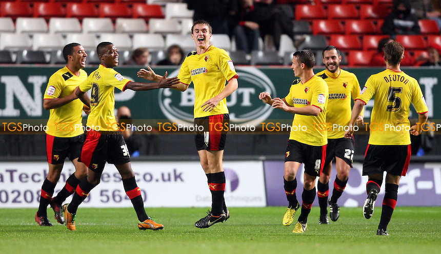 Tommie Hoban scores the 1st goal for Watford and celebrates - Charlton Athletic vs Watford, npower Championship at The Valley, Charlton - 02/10/12 - MANDATORY CREDIT: Rob Newell/TGSPHOTO - Self billing applies where appropriate - 0845 094 6026 - contact@tgsphoto.co.uk - NO UNPAID USE.